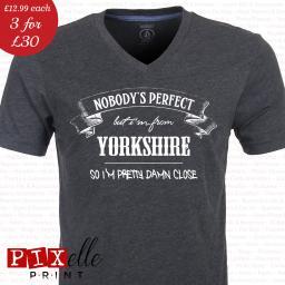 d15041e44fb8 Nobody's Perfect Yorkshire Funny Tshirt | Pixelle Print