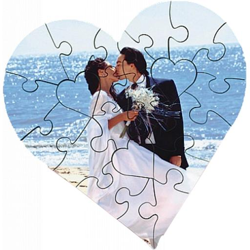 Personalised Wooden Photograph Heart Jigsaw