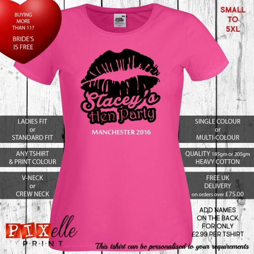 'Luscious Lips' Personalised Hen Tshirts
