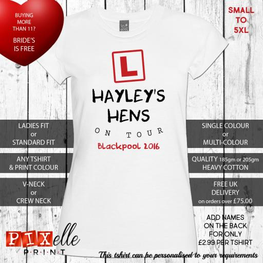 'Learner Bride' Personalised Hen Tshirts