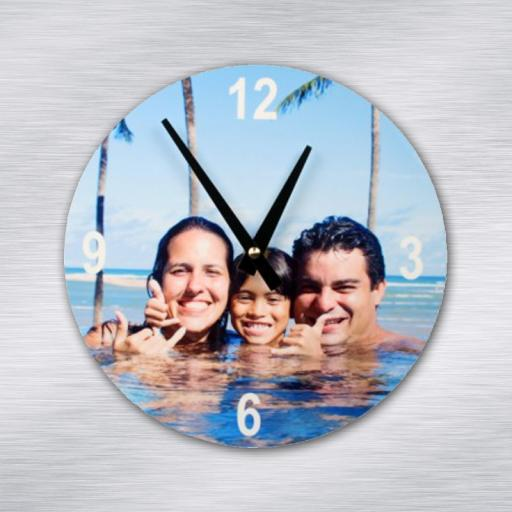 Personalised Aluminium Round Photo Clock