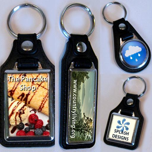 Personalised Leather Fob Photo Keyrings