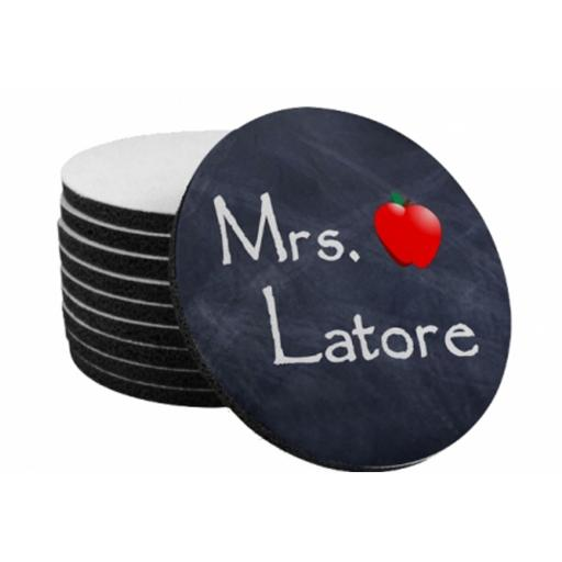 Personalised Round Fabric Topped Rubber Coaster