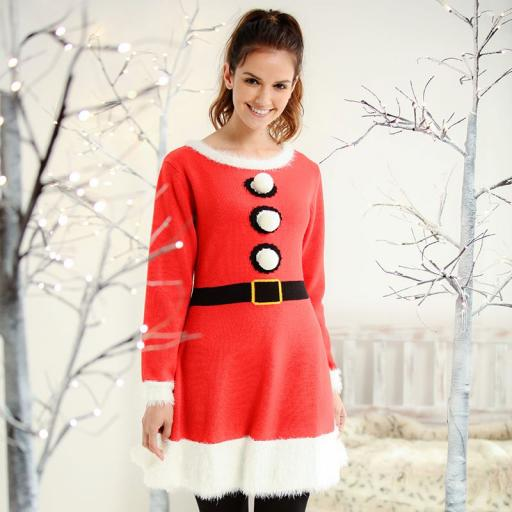 Mrs Claus Christmas Knitted Dress
