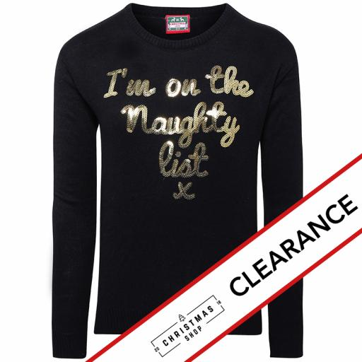 NAUGHTY LIST Sequin Christmas Jumper